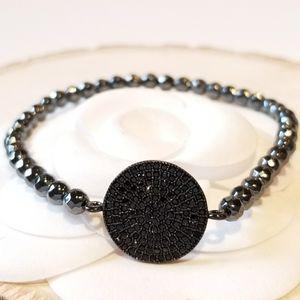 NEW Black CZ Pave Hematite Stretch Bracelet